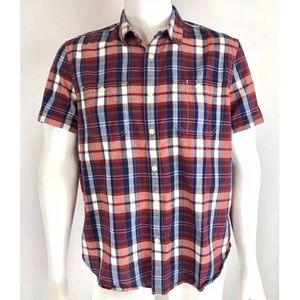 Lucky Brand Plaid Button Front Shirt Short Sleeve